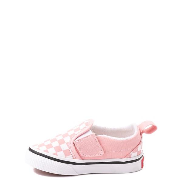 alternate view Vans Slip On V Checkerboard Skate Shoe - Baby / Toddler - Powder PinkALT1