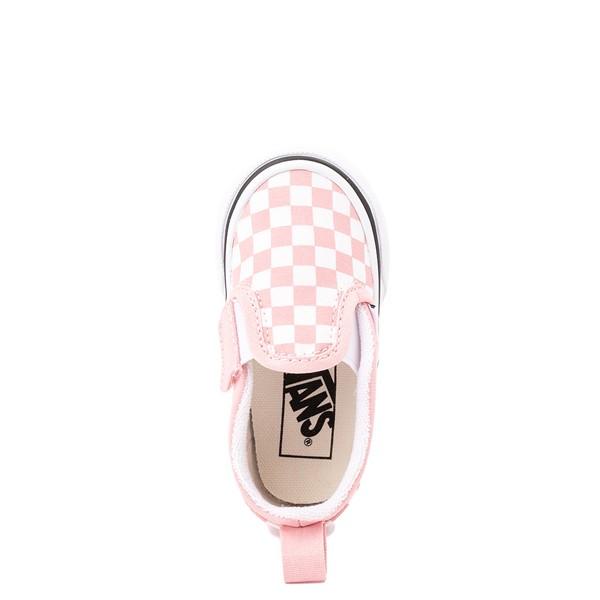 alternate view Vans Slip On V Checkerboard Skate Shoe - Baby / Toddler - Powder PinkALT2