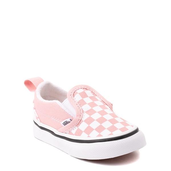 alternate view Vans Slip On V Checkerboard Skate Shoe - Baby / Toddler - Powder PinkALT5