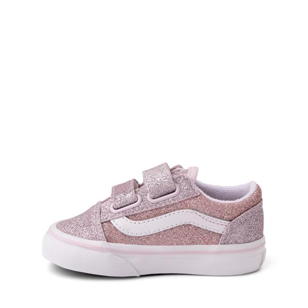 alternate view Vans Old Skool V Glitter Skate Shoe - Baby / Toddler - Orchid Ice / Powder PinkALT1