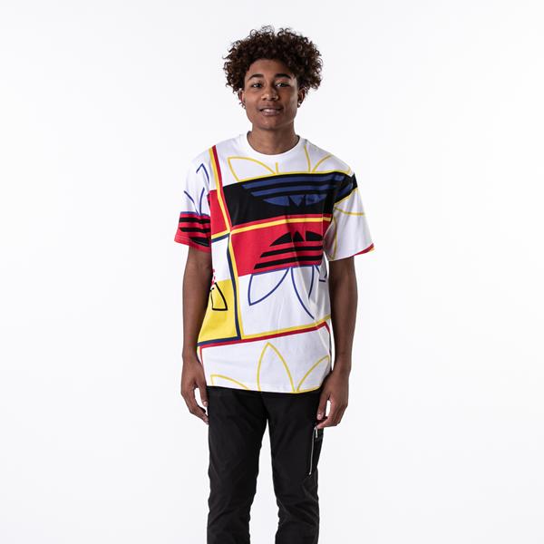 alternate view Mens adidas Originals Logo Play Tee - White / MulticolorALT1