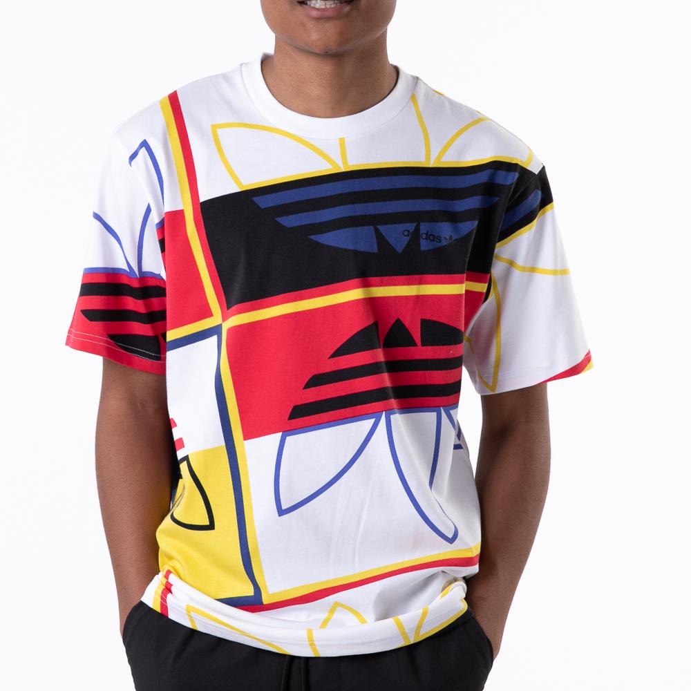 Mens adidas Originals Logo Play Tee - White / Multicolor
