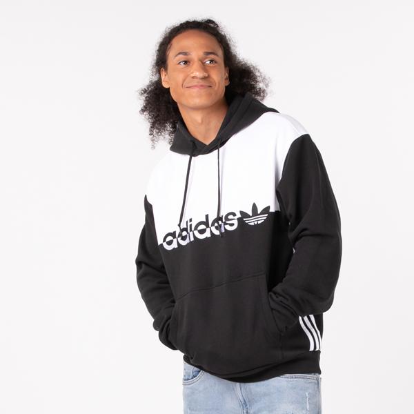 Mens adidas Originals Split Hoodie - Black / White