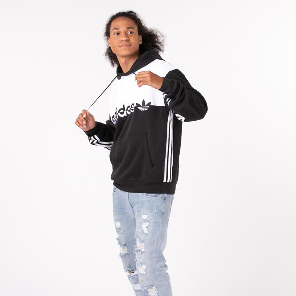 alternate view Mens adidas Originals Split Hoodie - Black / WhiteALT1