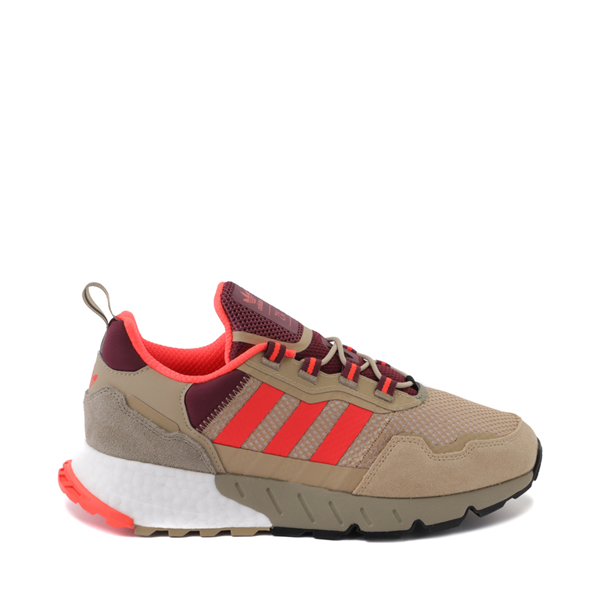 Main view of Mens adidas ZX 1K Boost Athletic Shoe - Beige Tone / Solar Red / Victory Crimson