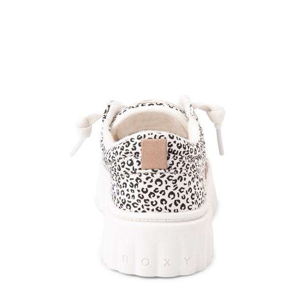 alternate view Roxy Sheilahh Platform Casual Shoe - Little Kid / Big Kid - White LeopardALT4