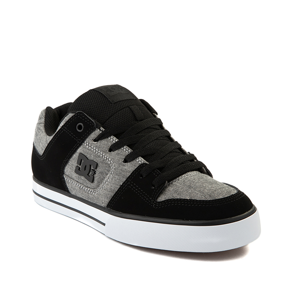 alternate view Mens DC Pure Skate Shoe - Black / Heather GrayALT5