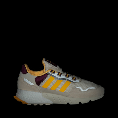 Alternate view of Womens adidas ZX 1K Boost Athletic Shoe - Wonder White / Gold / Victory Crimson