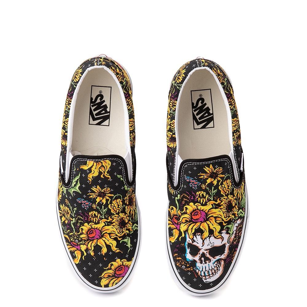 Vans Slip On Beauty Skull Skate Shoe - Black