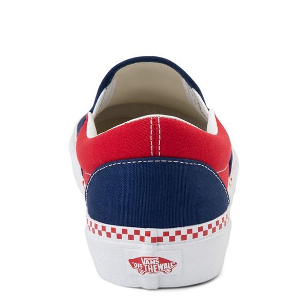 alternate view Vans Slip On Checkerboard Skate Shoe - Estate Blue / Racing RedALT4