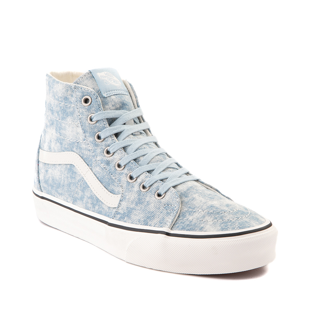 Vans Denim Destroy Sk8 Hi Tapered Skate Shoe - Winter Sky / Marshmallow