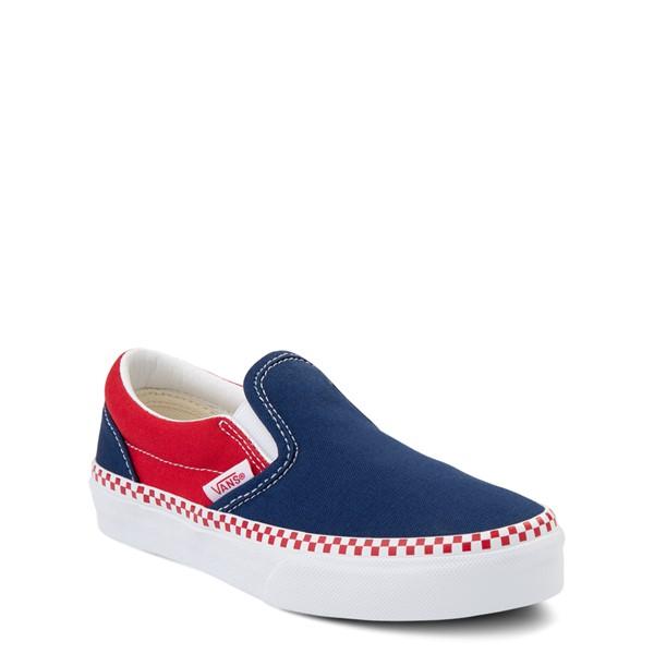 alternate view Vans Slip On Checkerboard Skate Shoe - Little Kid - Estate Blue / Racing RedALT5