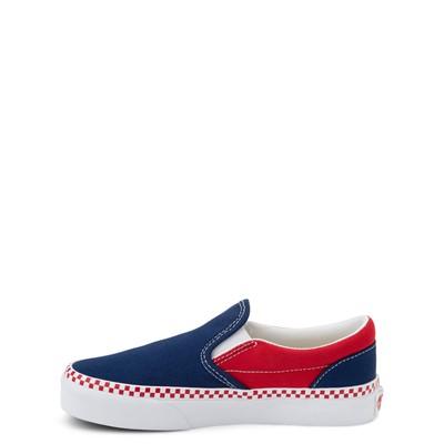 Alternate view of Vans Slip On Checkerboard Skate Shoe - Little Kid - Estate Blue / Racing Red