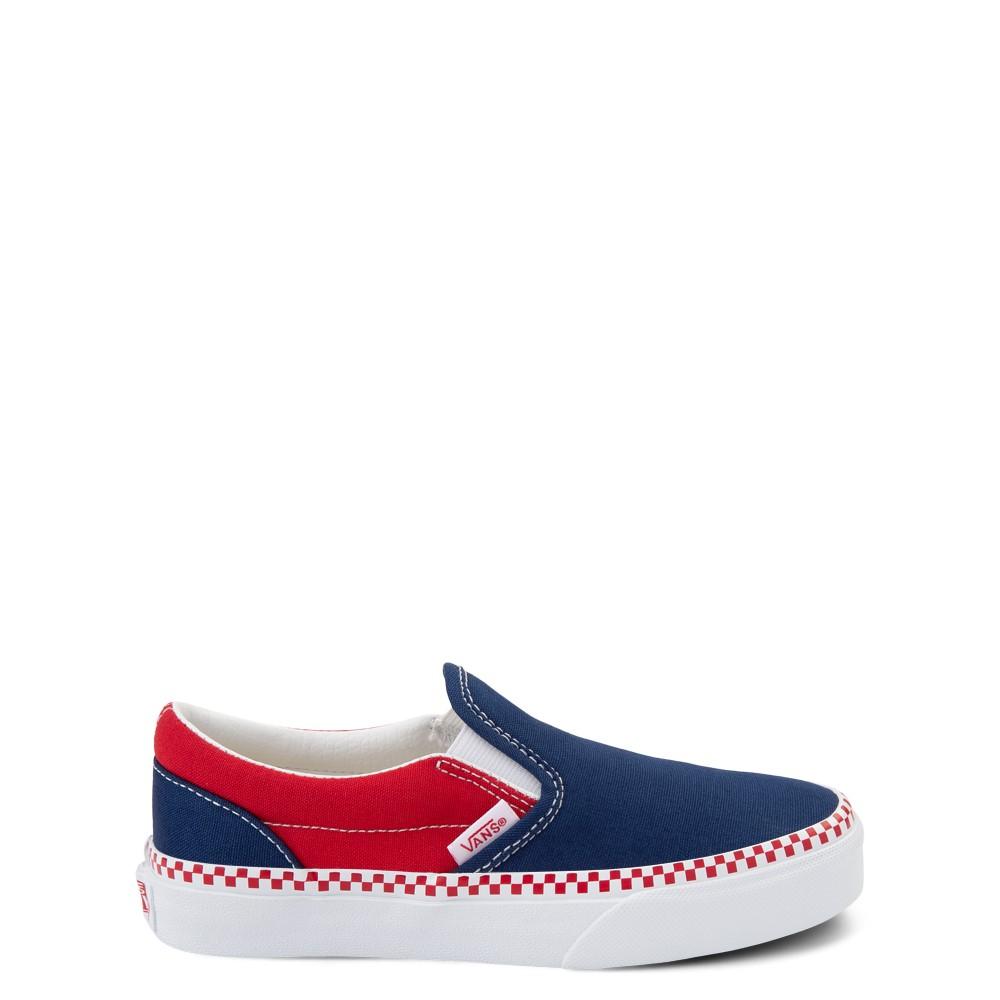 Vans Slip On Checkerboard Skate Shoe - Little Kid - Estate Blue / Racing Red