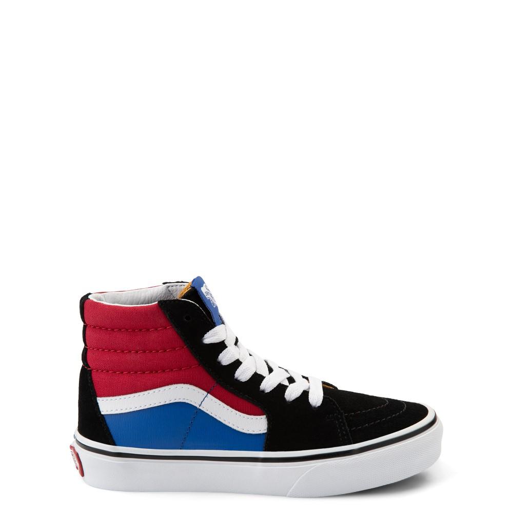 Vans Sk8 Hi Easy Logo Skate Shoe - Big Kid - Black / Chili Pepper