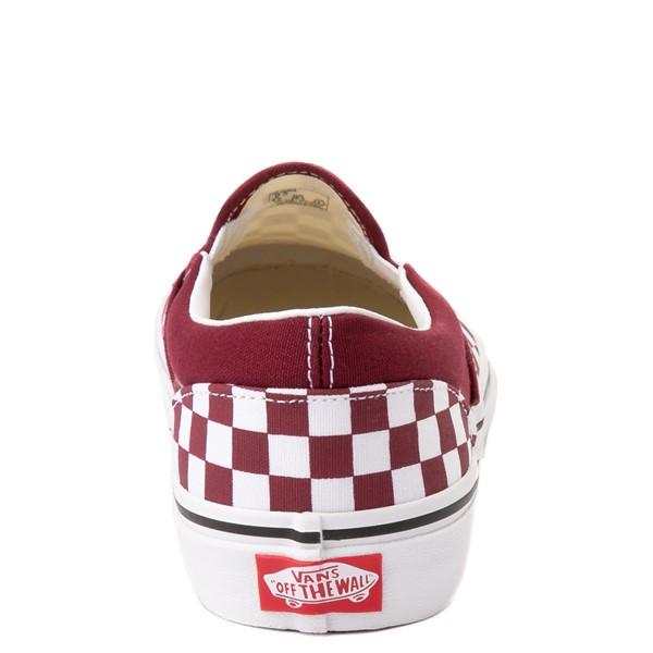 alternate view Vans Slip On Checkerboard Skate Shoe - Big Kid - PomegranateALT4