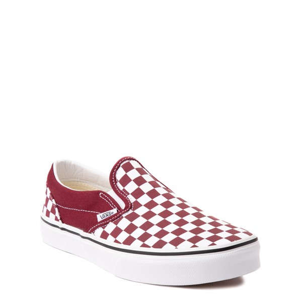 alternate view Vans Slip On Checkerboard Skate Shoe - Big Kid - PomegranateALT5