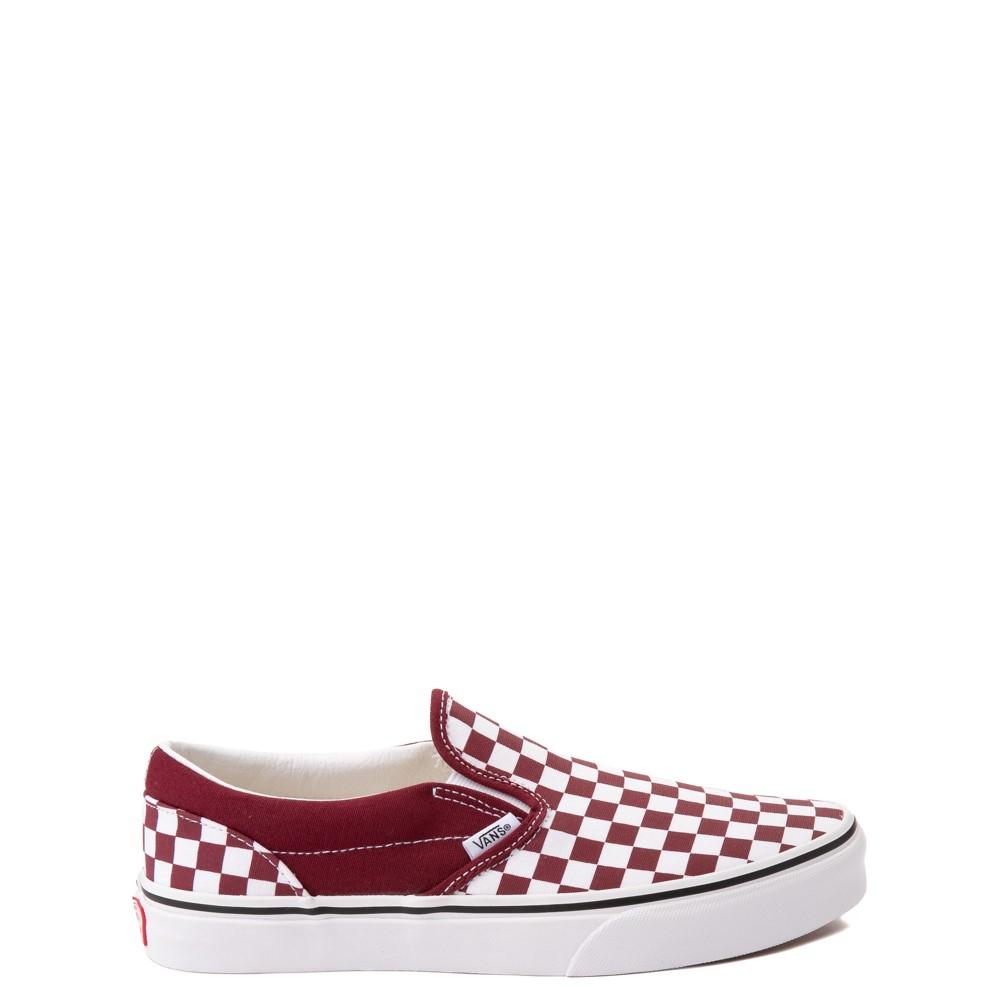 Vans Slip On Checkerboard Skate Shoe - Big Kid - Pomegranate