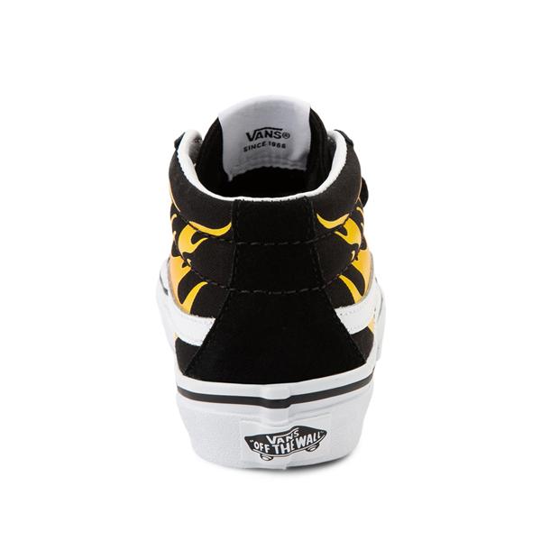 alternate view Vans Sk8 Mid Reissue V Hot Flame Skate Shoe - Little Kid - BlackALT4