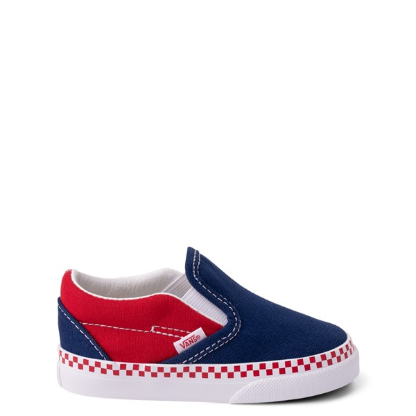 Vans Slip On Checkerboard Skate Shoe - Baby / Toddler - Estate Blue / Racing Red