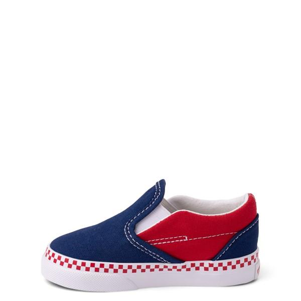 alternate view Vans Slip On Checkerboard Skate Shoe - Baby / Toddler - Estate Blue / Racing RedALT1