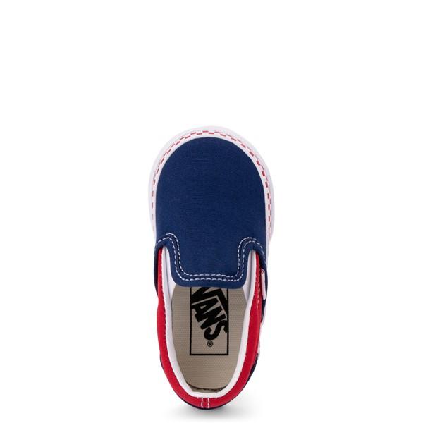 alternate view Vans Slip On Checkerboard Skate Shoe - Baby / Toddler - Estate Blue / Racing RedALT2