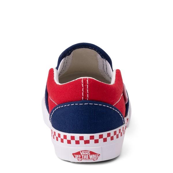 alternate view Vans Slip On Checkerboard Skate Shoe - Baby / Toddler - Estate Blue / Racing RedALT4