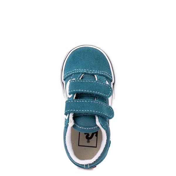 alternate view Vans Old Skool V Skate Shoe - Baby / Toddler - Blue CoralALT2