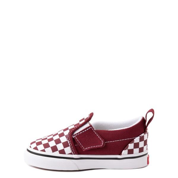 alternate view Vans Slip On V Checkerboard Skate Shoe - Baby / Toddler - PomegranateALT1