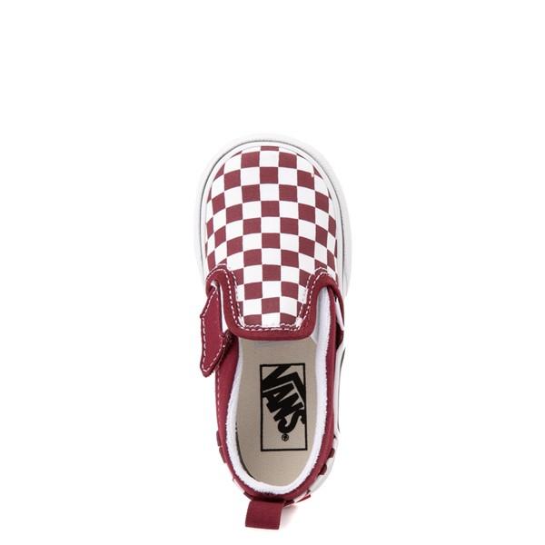 alternate view Vans Slip On V Checkerboard Skate Shoe - Baby / Toddler - PomegranateALT2