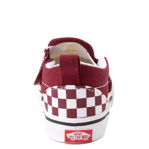 alternate view Vans Slip On V Checkerboard Skate Shoe - Baby / Toddler - PomegranateALT4