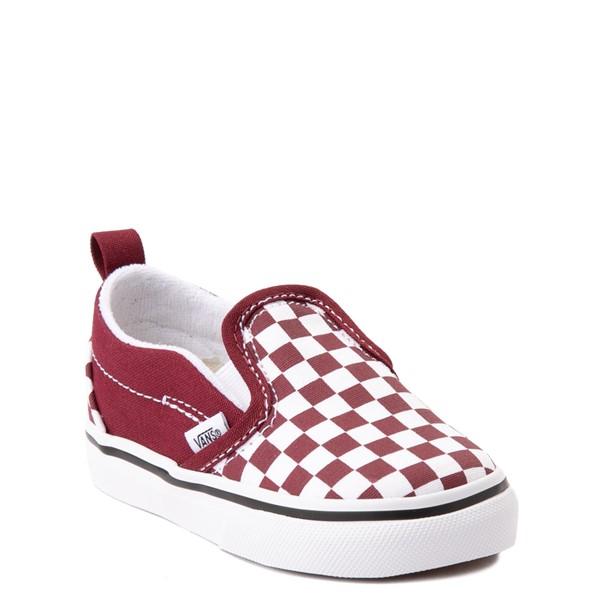 alternate view Vans Slip On V Checkerboard Skate Shoe - Baby / Toddler - PomegranateALT5
