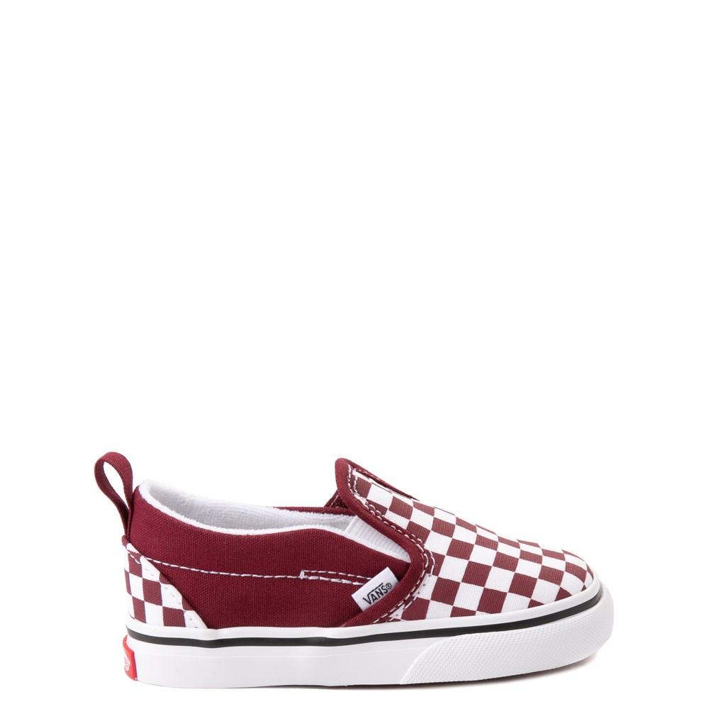 Vans Slip On V Checkerboard Skate Shoe - Baby / Toddler - Pomegranate