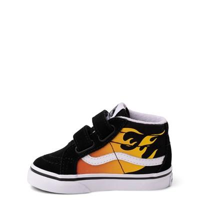 Alternate view of Vans Sk8 Mid Reissue V Hot Flame Skate Shoe - Baby / Toddler - Black