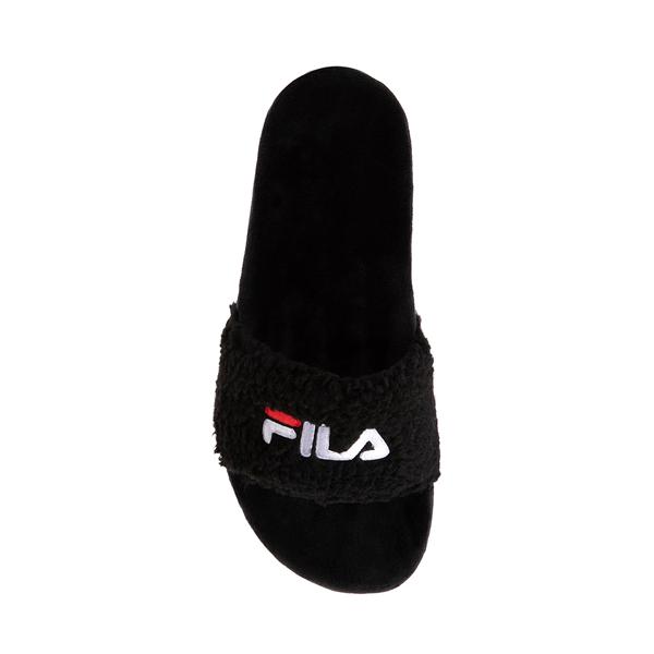alternate view Womens Fila Fuzzy Drifter Slide Sandal - BlackALT2