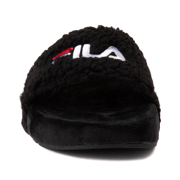 alternate view Womens Fila Fuzzy Drifter Slide Sandal - BlackALT4