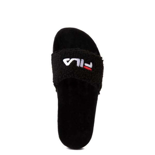 alternate view Womens Fila Fuzzy Drifter Slide Sandal - BlackALT4B