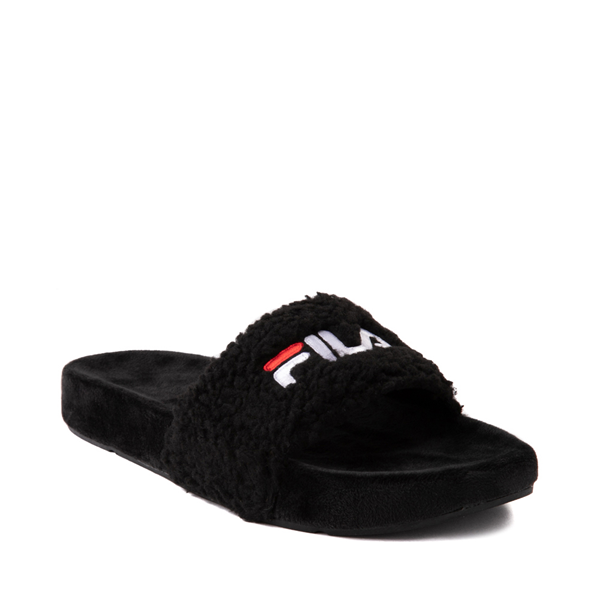 alternate view Womens Fila Fuzzy Drifter Slide Sandal - BlackALT5