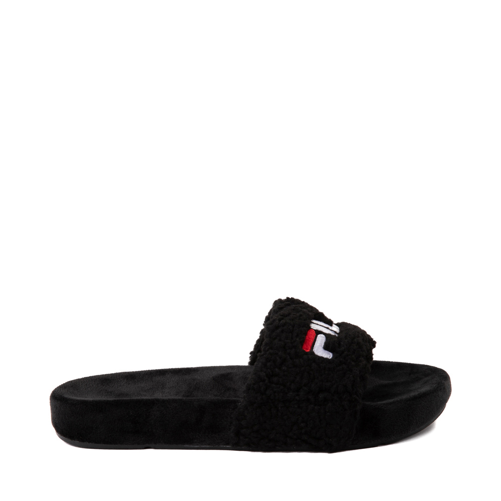 Womens Fila Fuzzy Drifter Slide Sandal - Black