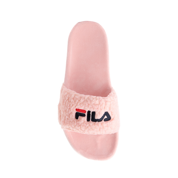 alternate view Womens Fila Fuzzy Drifter Slide Sandal - PinkALT2