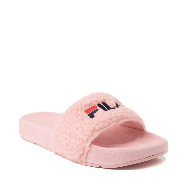 alternate view Womens Fila Fuzzy Drifter Slide Sandal - PinkALT5