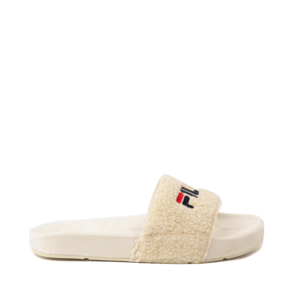 Womens Fila Fuzzy Drifter Slide Sandal - Cream