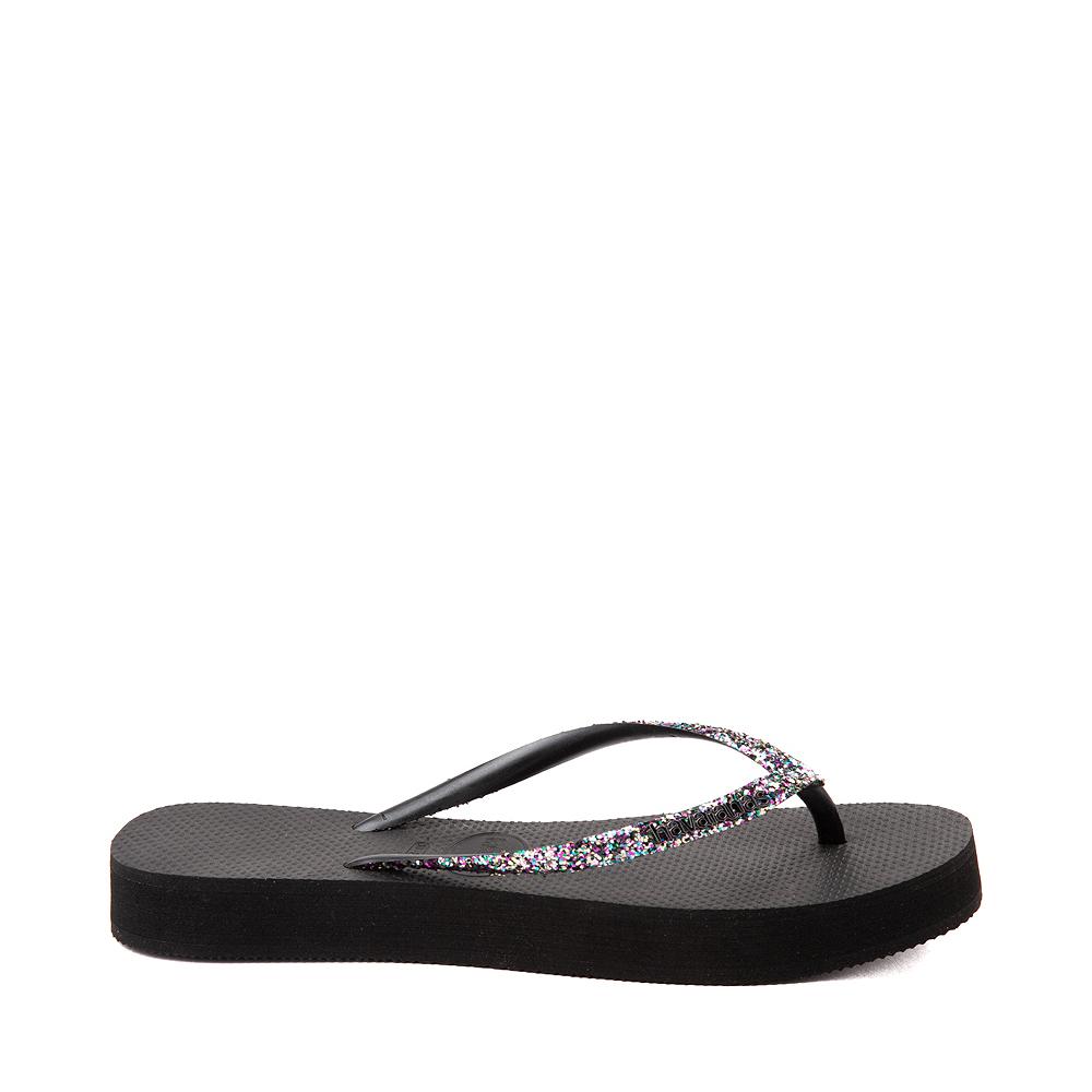 Womens Havaianas Slim Flatform Shine Sandal - Black