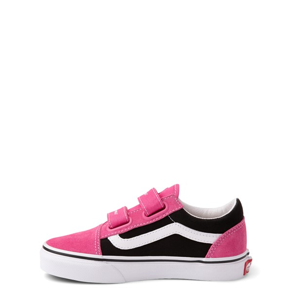 alternate view Vans Old Skool V Logo Pop Skate Shoe - Little Kid - Shock Pink / BlackALT1