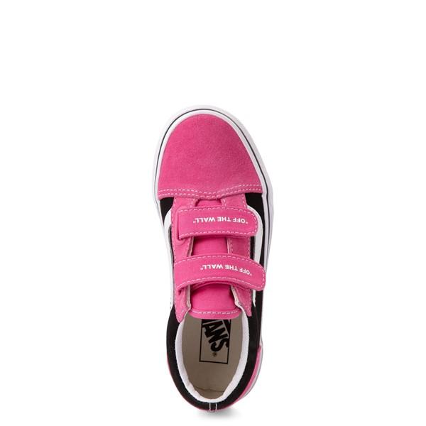 alternate view Vans Old Skool V Logo Pop Skate Shoe - Little Kid - Shock Pink / BlackALT2