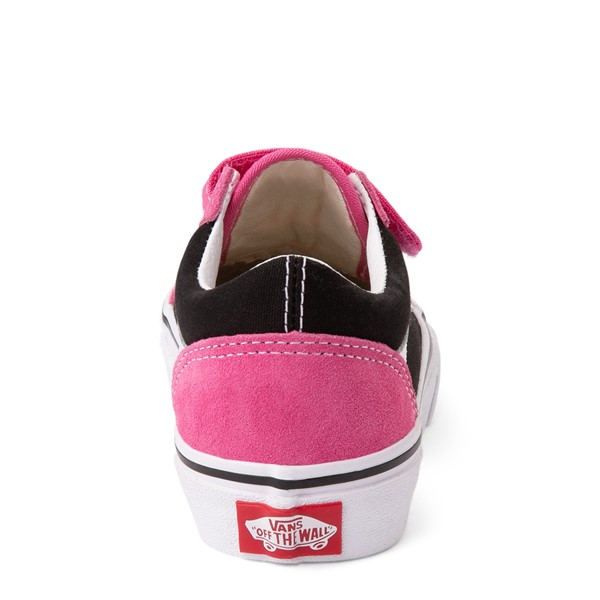 alternate view Vans Old Skool V Logo Pop Skate Shoe - Little Kid - Shock Pink / BlackALT4