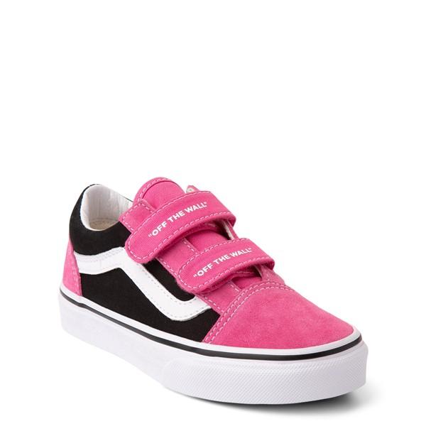 alternate view Vans Old Skool V Logo Pop Skate Shoe - Little Kid - Shock Pink / BlackALT5