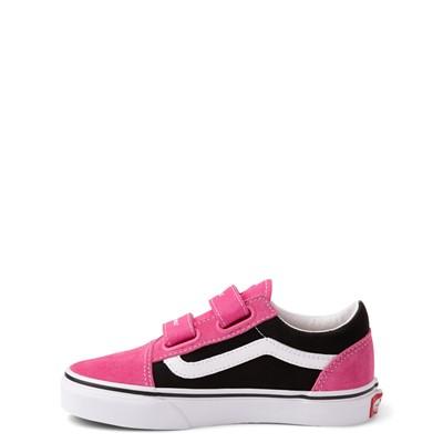 Alternate view of Vans Old Skool V Logo Pop Skate Shoe - Little Kid - Shock Pink / Black