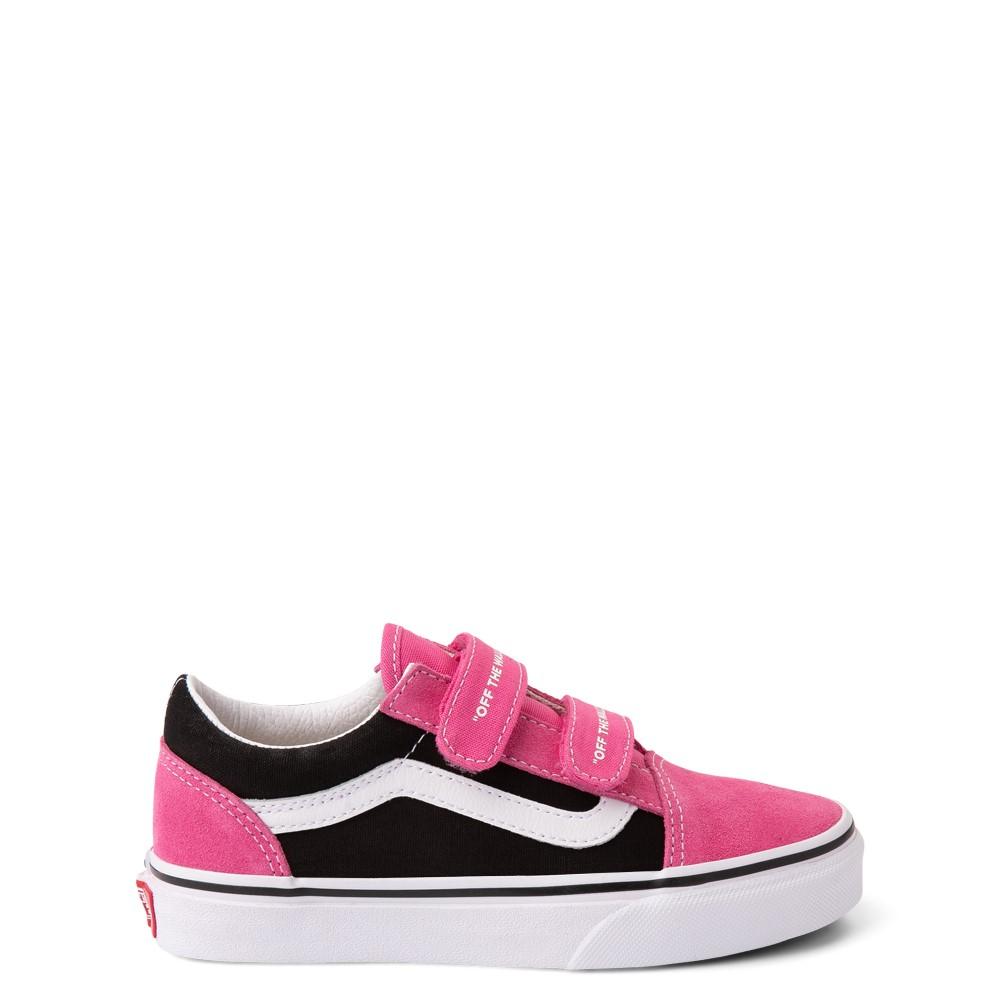 Vans Old Skool V Logo Pop Skate Shoe - Little Kid - Shock Pink / Black