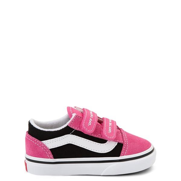 Vans Old Skool V Logo Pop Skate Shoe - Baby / Toddler - Shock Pink / Black